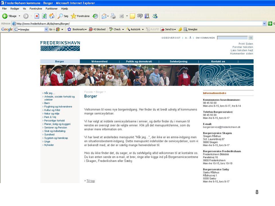 Visualisering nr. 7 Browseren ses stadig foroven og forneden, men hjemmesiden er ændret.