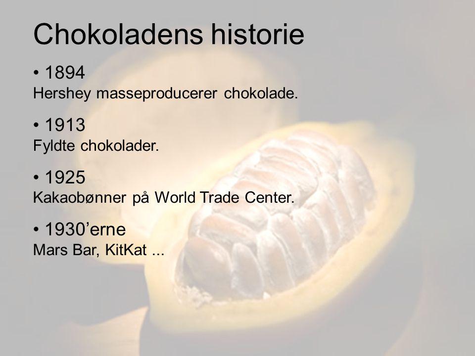 Chokoladens historie 1894 Hershey masseproducerer chokolade.