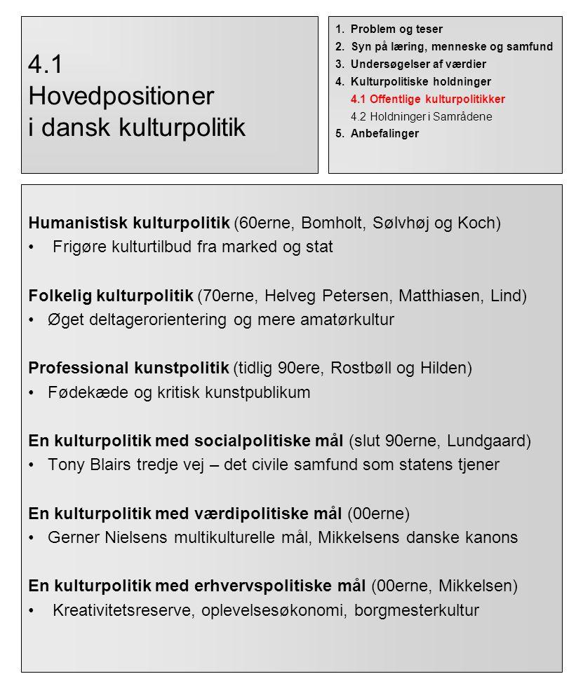 4.1 Hovedpositioner i dansk kulturpolitik