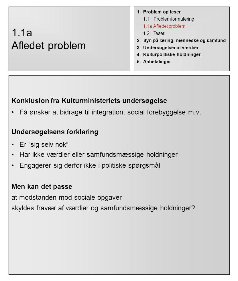 1.1a Afledet problem Konklusion fra Kulturministeriets undersøgelse