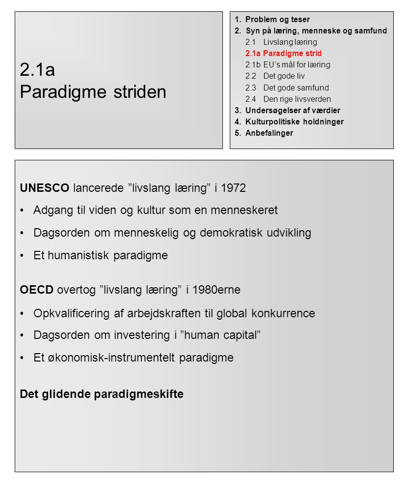 2.1a Paradigme striden UNESCO lancerede livslang læring i 1972