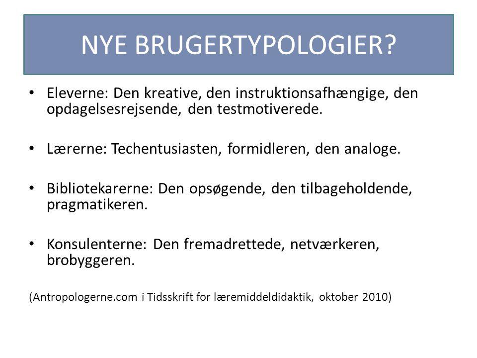 NYE BRUGERTYPOLOGIER Eleverne: Den kreative, den instruktionsafhængige, den opdagelsesrejsende, den testmotiverede.