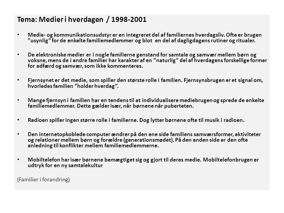 Tema: Medier i hverdagen / 1998-2001