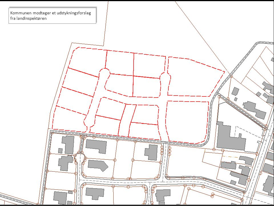 Kommunen modtager et udstykningsforslag fra landinspektøren