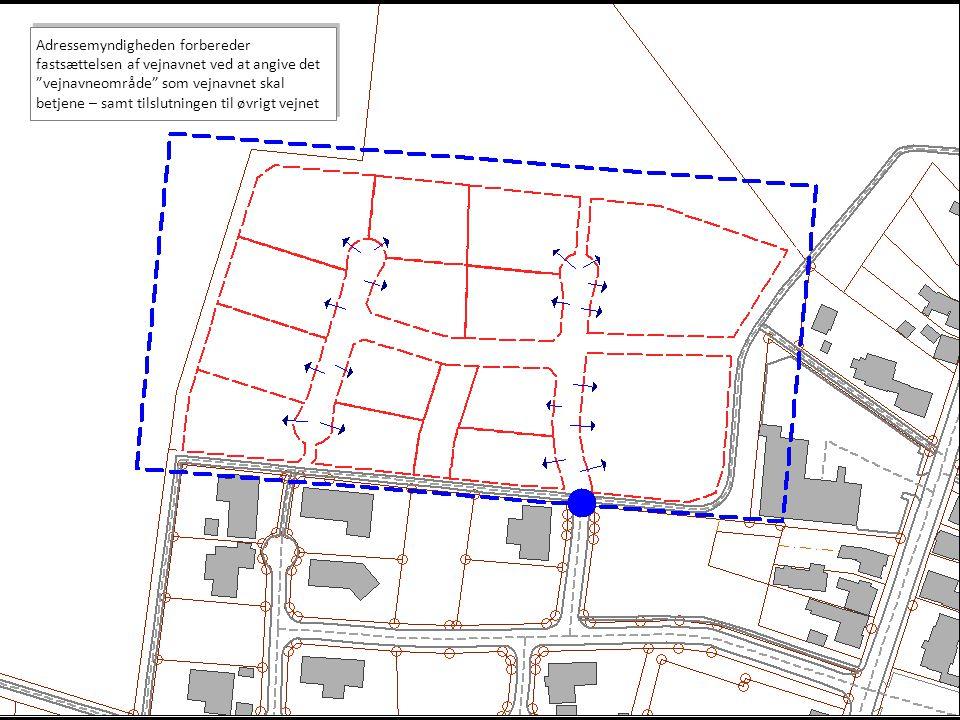 Adressemyndigheden forbereder fastsættelsen af vejnavnet ved at angive det vejnavneområde som vejnavnet skal betjene – samt tilslutningen til øvrigt vejnet