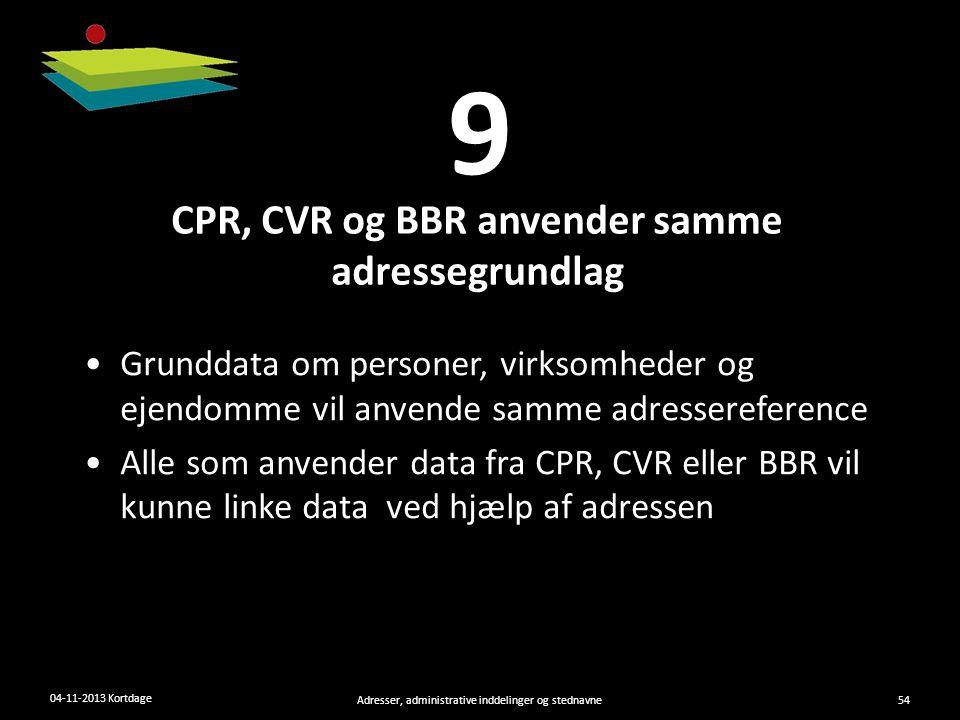 CPR, CVR og BBR anvender samme adressegrundlag