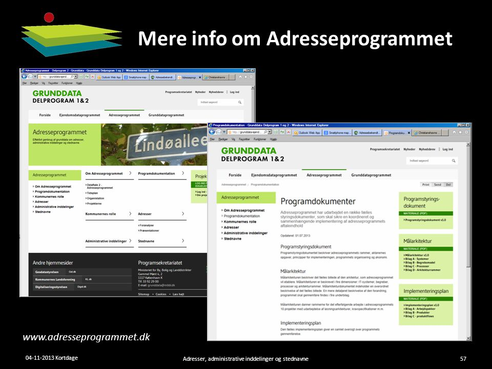 Mere info om Adresseprogrammet