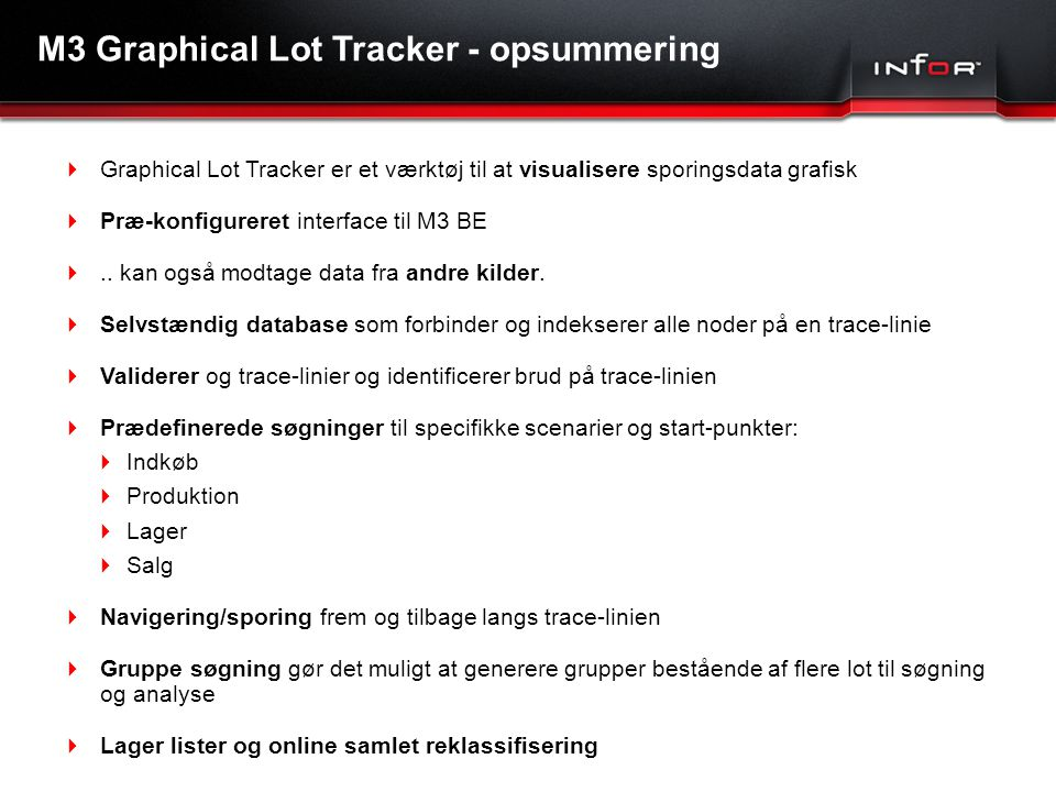 M3 Graphical Lot Tracker - opsummering