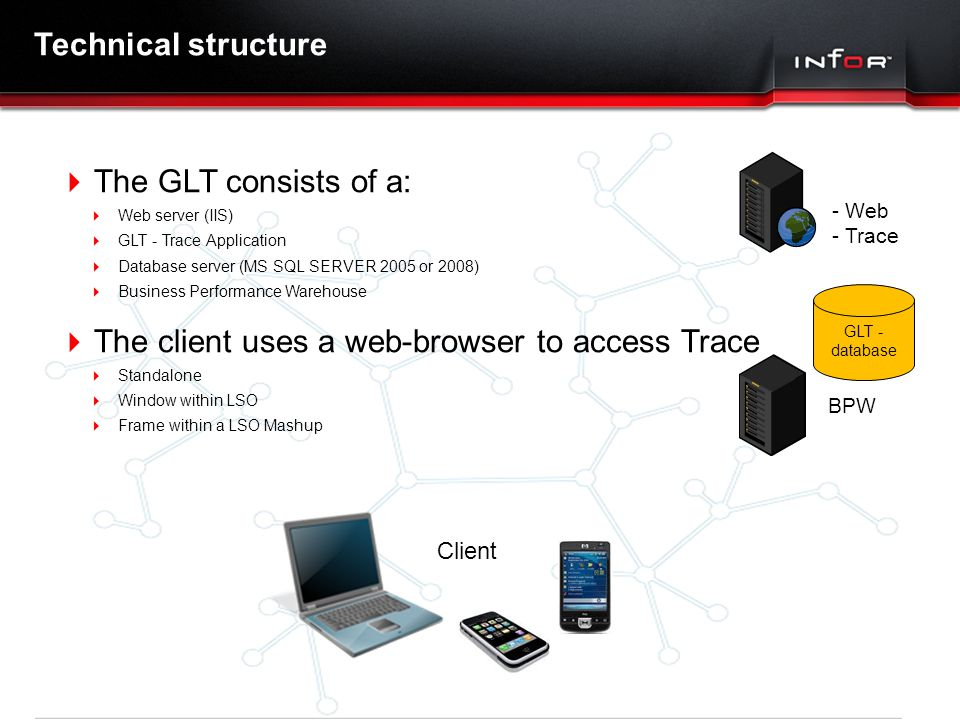 The client uses a web-browser to access Trace