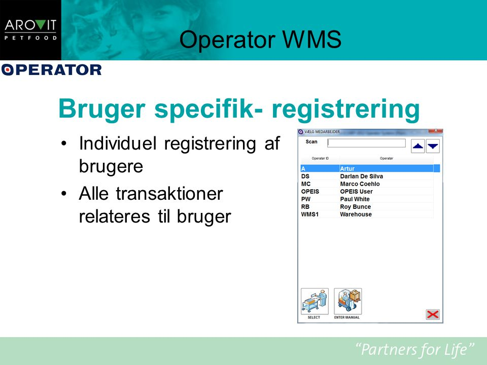 Bruger specifik- registrering