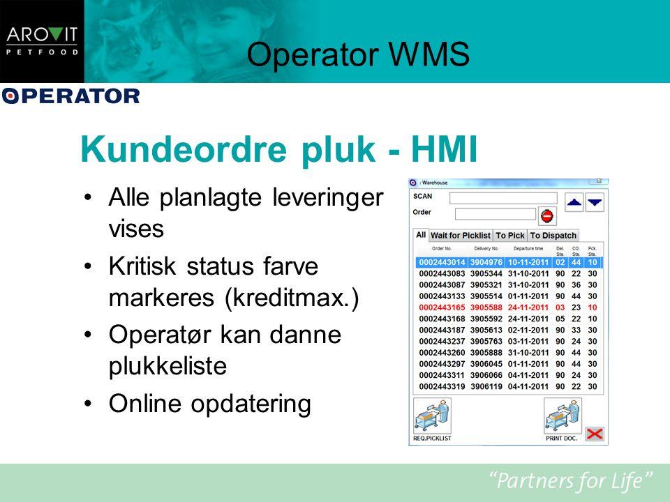 Kundeordre pluk - HMI Operator WMS Alle planlagte leveringer vises