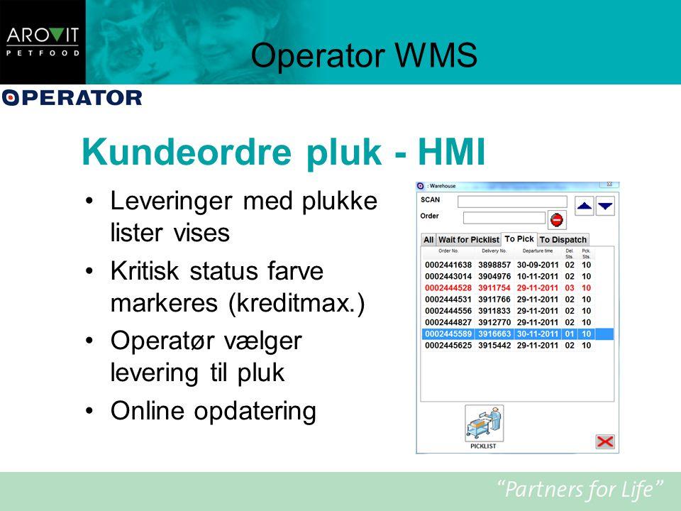 Kundeordre pluk - HMI Operator WMS Leveringer med plukke lister vises