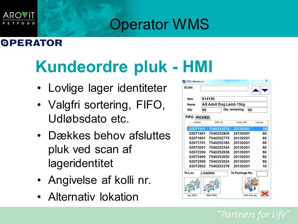 Kundeordre pluk - HMI Operator WMS Lovlige lager identiteter