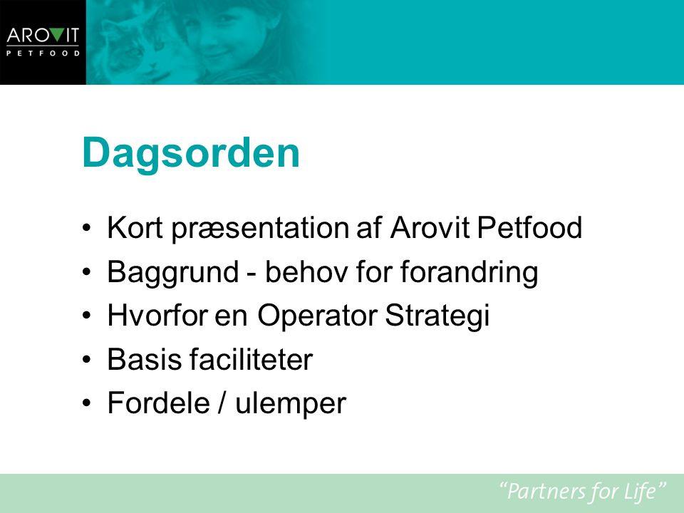 Dagsorden Kort præsentation af Arovit Petfood