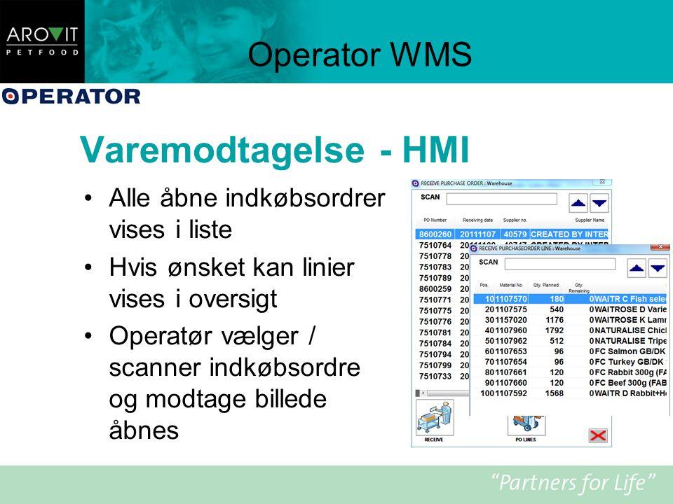 Varemodtagelse - HMI Operator WMS