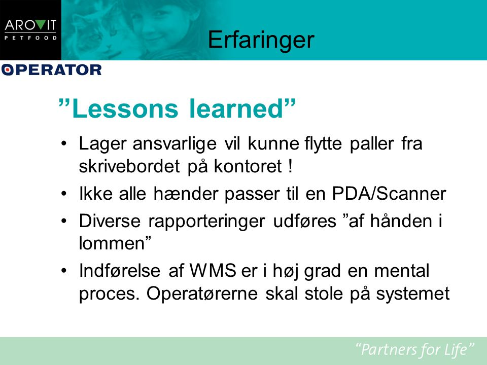 Lessons learned Erfaringer