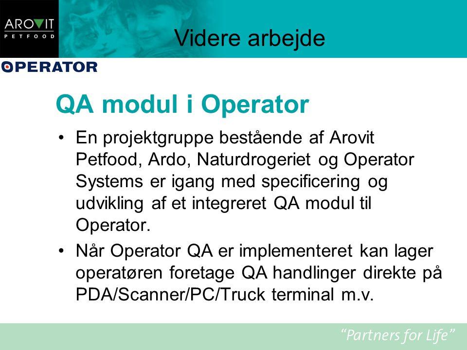 QA modul i Operator Videre arbejde