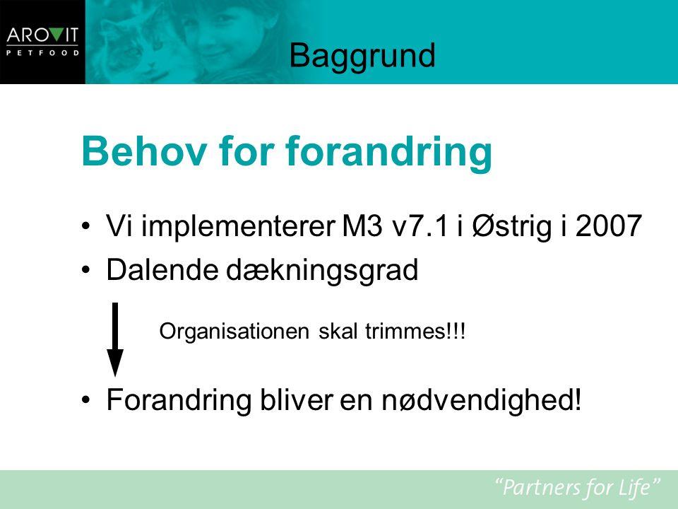 Behov for forandring Baggrund Vi implementerer M3 v7.1 i Østrig i 2007