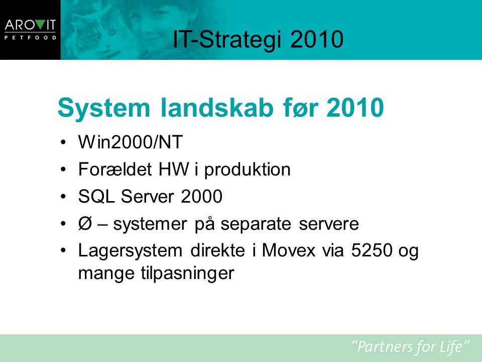 System landskab før 2010 IT-Strategi 2010 Win2000/NT