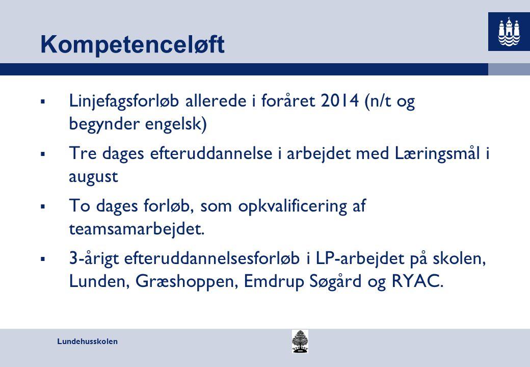 Kompetenceløft Linjefagsforløb allerede i foråret 2014 (n/t og begynder engelsk) Tre dages efteruddannelse i arbejdet med Læringsmål i august.