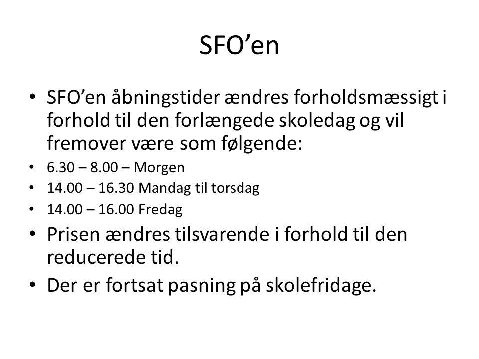 SFO'en SFO'en åbningstider ændres forholdsmæssigt i forhold til den forlængede skoledag og vil fremover være som følgende: