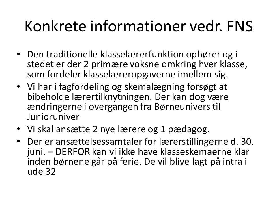 Konkrete informationer vedr. FNS