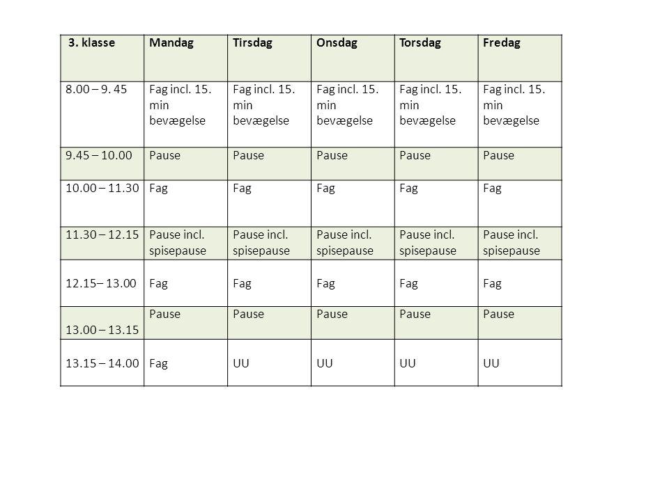 3. klasse Mandag. Tirsdag. Onsdag. Torsdag. Fredag. 8.00 – 9. 45. Fag incl. 15. min bevægelse.