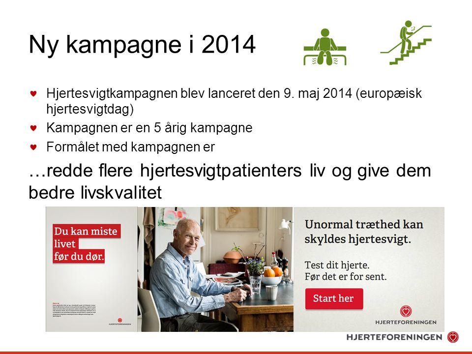 Ny kampagne i 2014 Hjertesvigtkampagnen blev lanceret den 9. maj 2014 (europæisk hjertesvigtdag) Kampagnen er en 5 årig kampagne.
