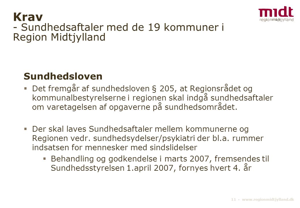 Krav - Sundhedsaftaler med de 19 kommuner i Region Midtjylland