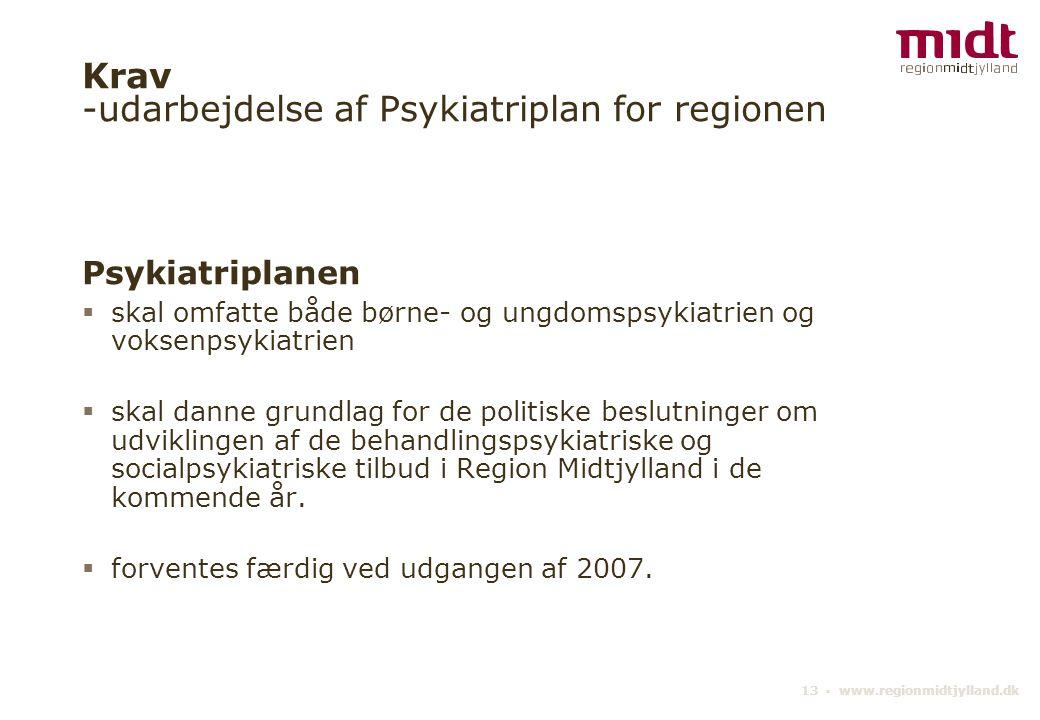 Krav -udarbejdelse af Psykiatriplan for regionen