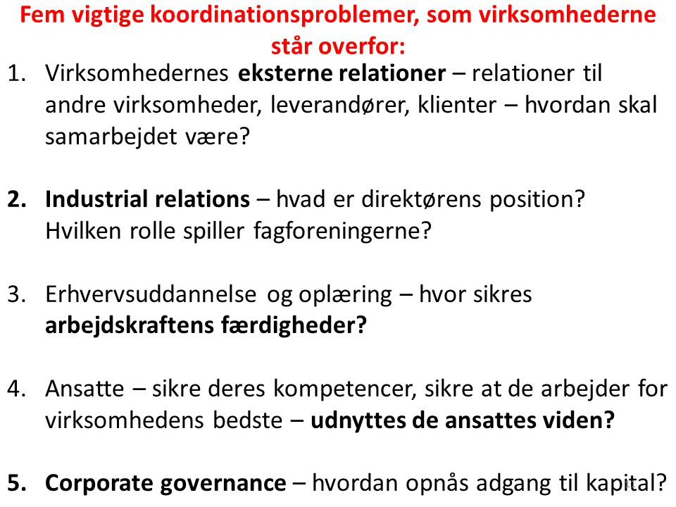 Fem vigtige koordinationsproblemer, som virksomhederne står overfor: