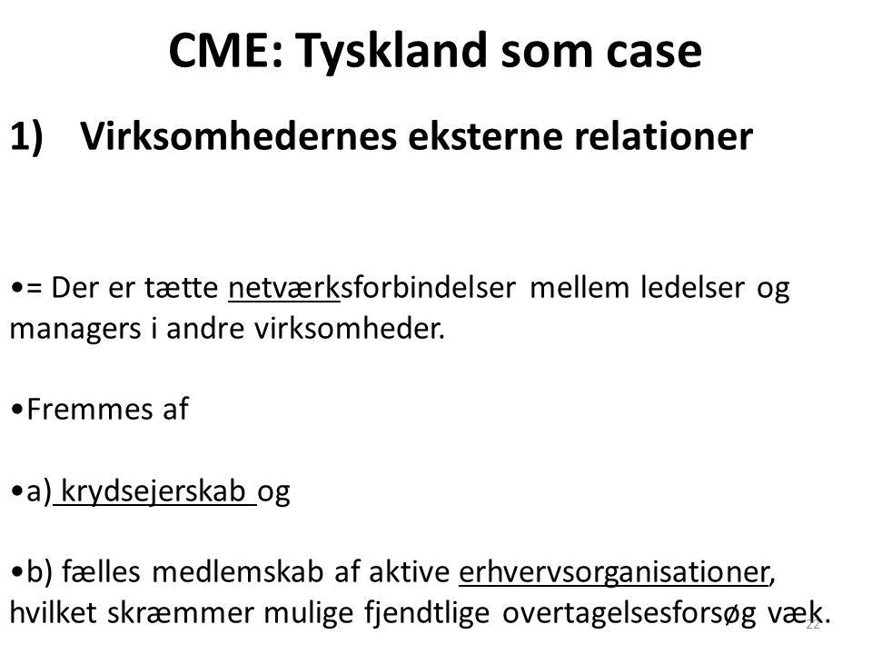 CME: Tyskland som case Virksomhedernes eksterne relationer