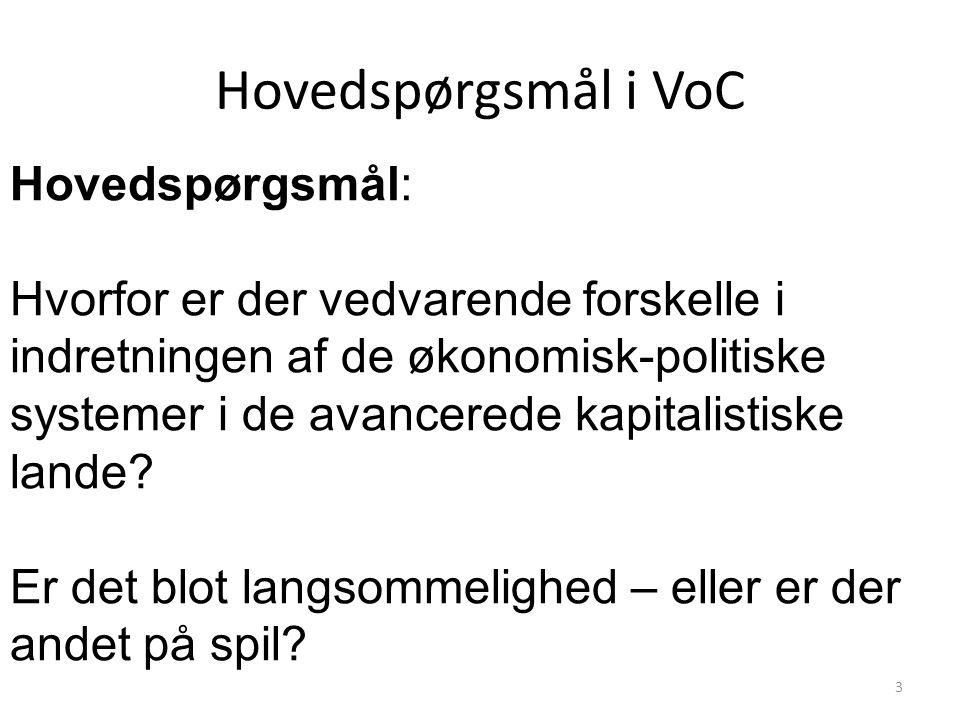 Hovedspørgsmål i VoC Hovedspørgsmål: