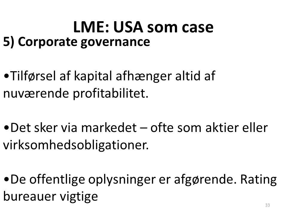 LME: USA som case 5) Corporate governance