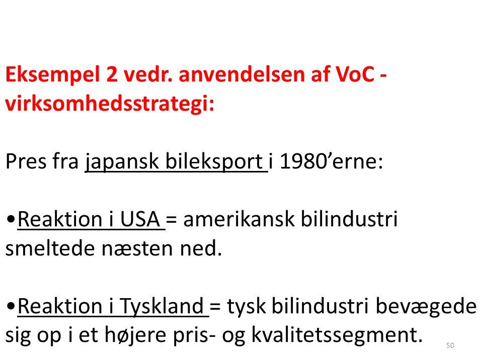 Eksempel 2 vedr. anvendelsen af VoC - virksomhedsstrategi: