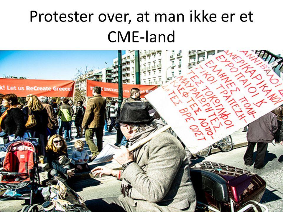 Protester over, at man ikke er et CME-land