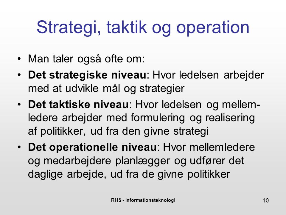 Strategi, taktik og operation