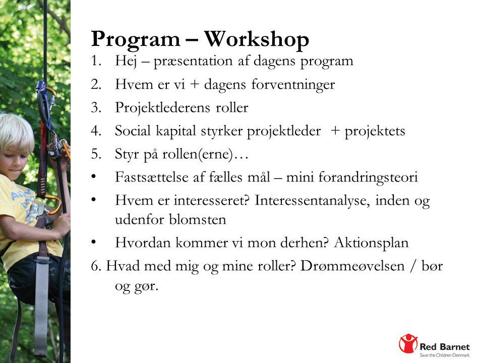 Program – Workshop Hej – præsentation af dagens program