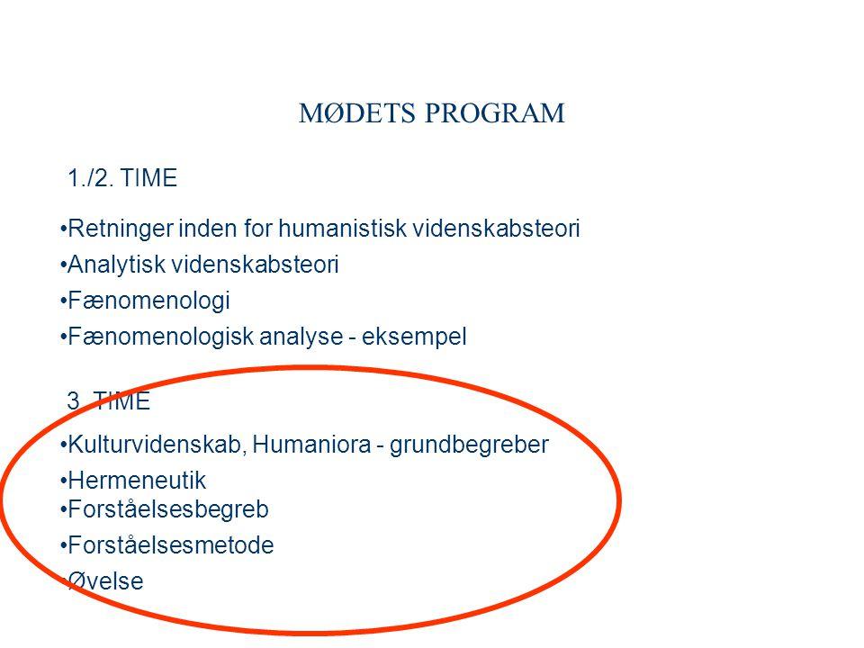 MØDETS PROGRAM 1./2. TIME. Retninger inden for humanistisk videnskabsteori. Analytisk videnskabsteori.
