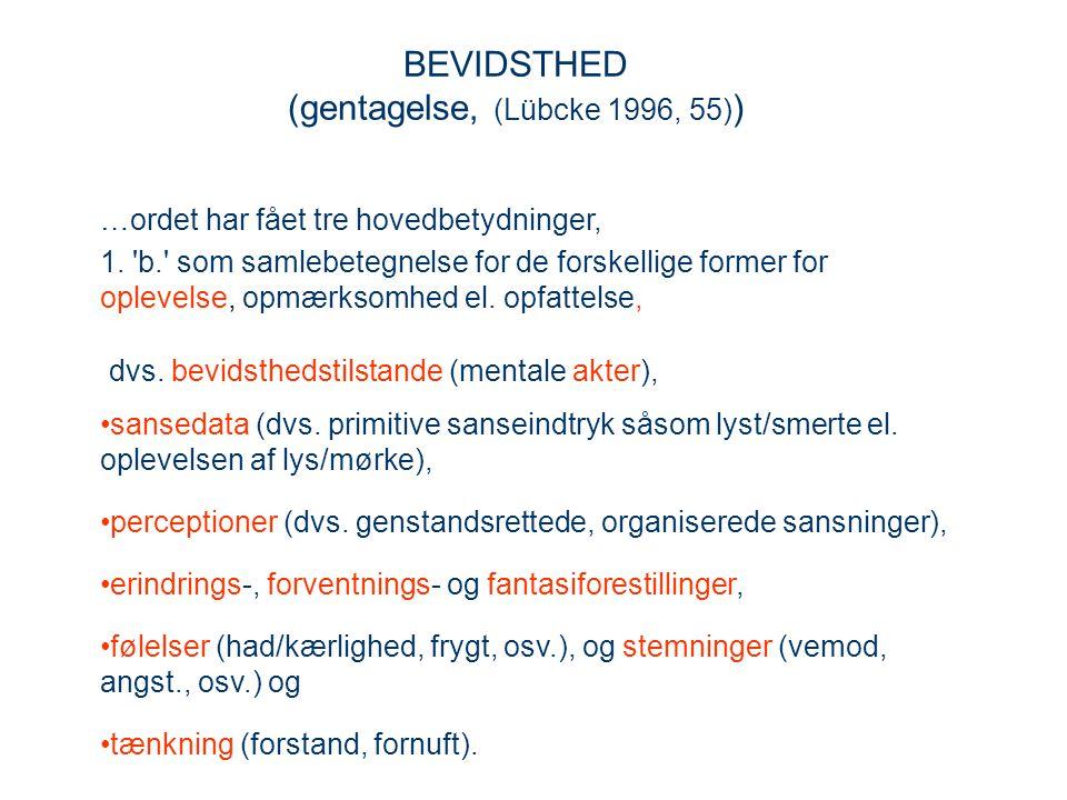 BEVIDSTHED (gentagelse, (Lübcke 1996, 55))