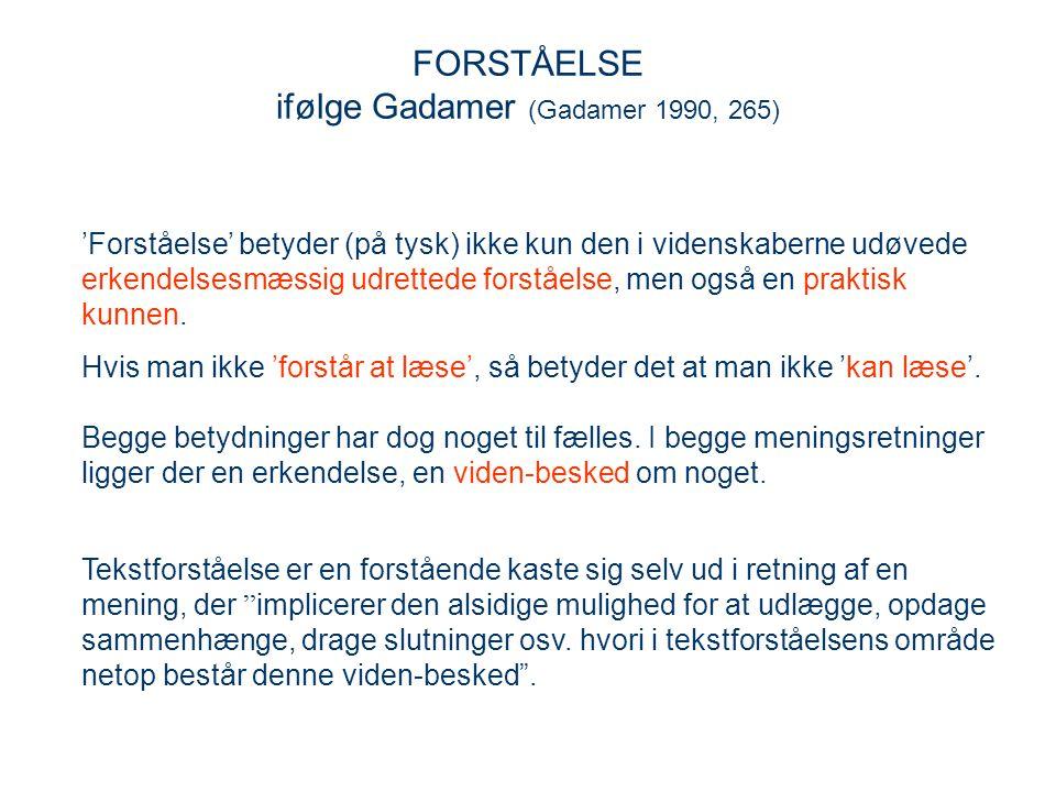 FORSTÅELSE ifølge Gadamer (Gadamer 1990, 265)