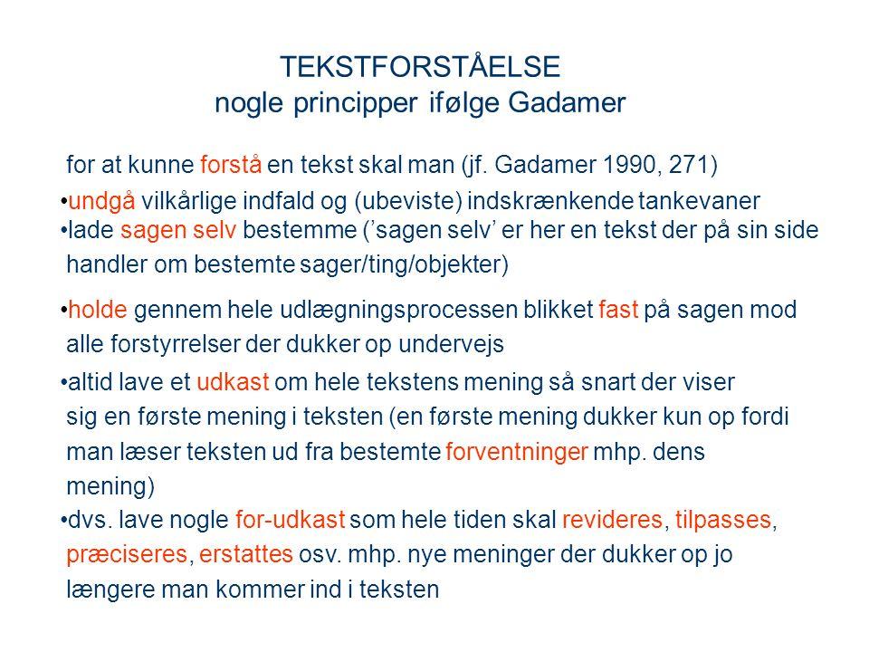 TEKSTFORSTÅELSE nogle principper ifølge Gadamer