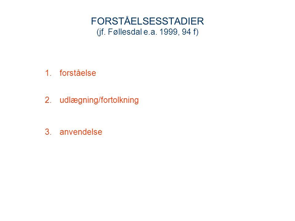 FORSTÅELSESSTADIER (jf. Føllesdal e.a. 1999, 94 f)