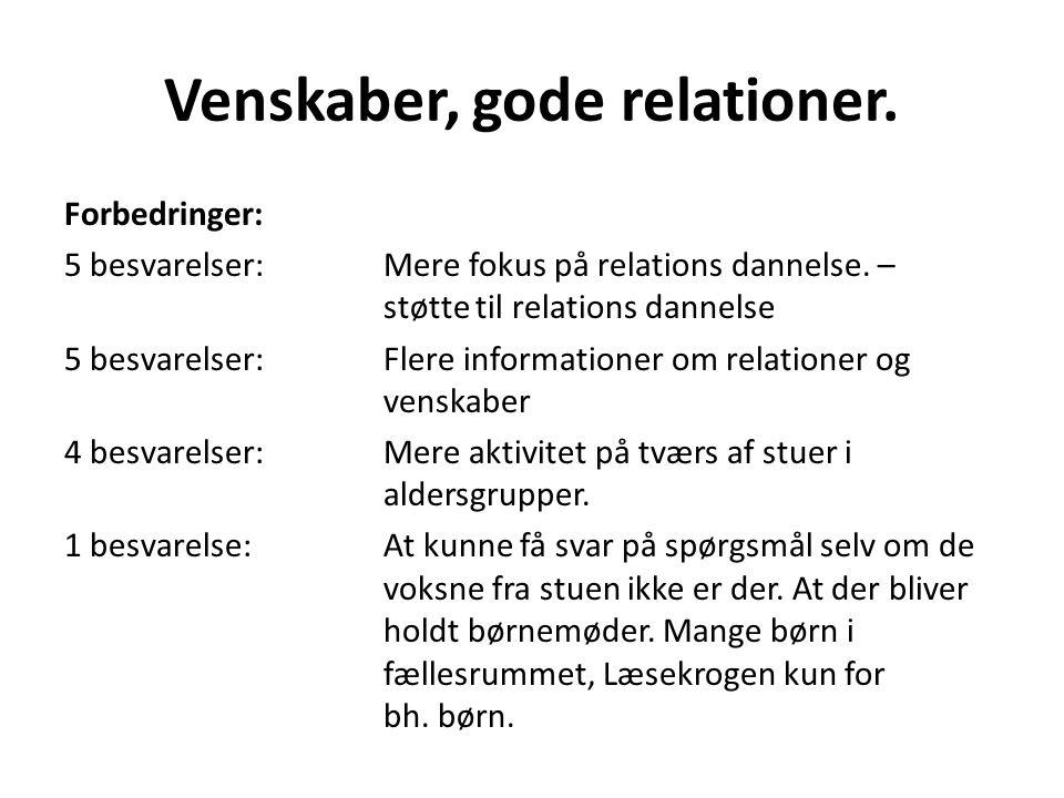 Venskaber, gode relationer.