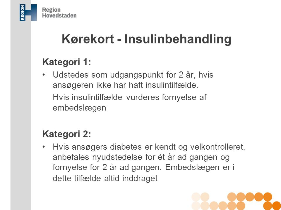 Kørekort - Insulinbehandling