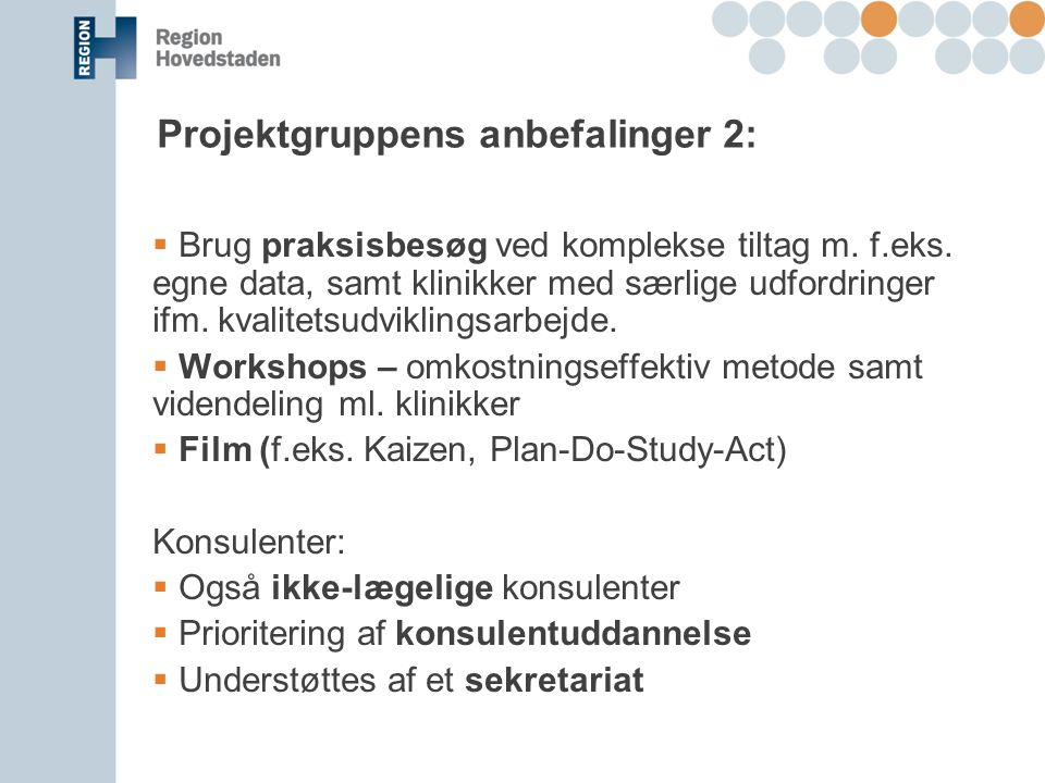 Projektgruppens anbefalinger 2: