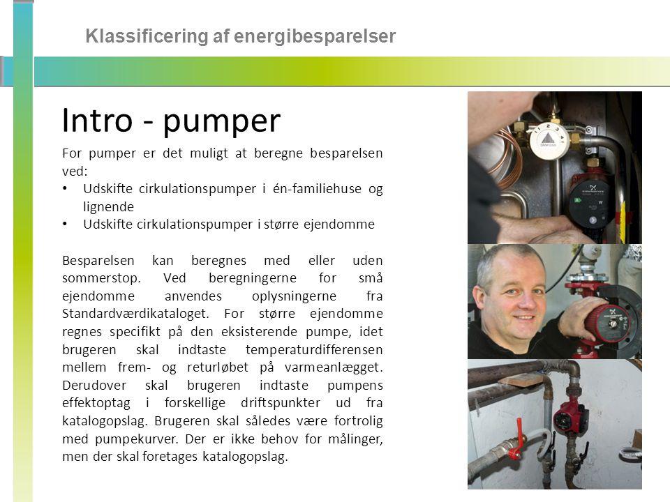 Intro - pumper Klassificering af energibesparelser