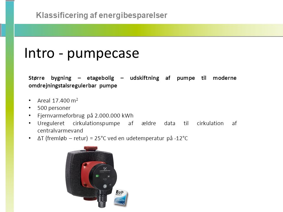 Intro - pumpecase Klassificering af energibesparelser