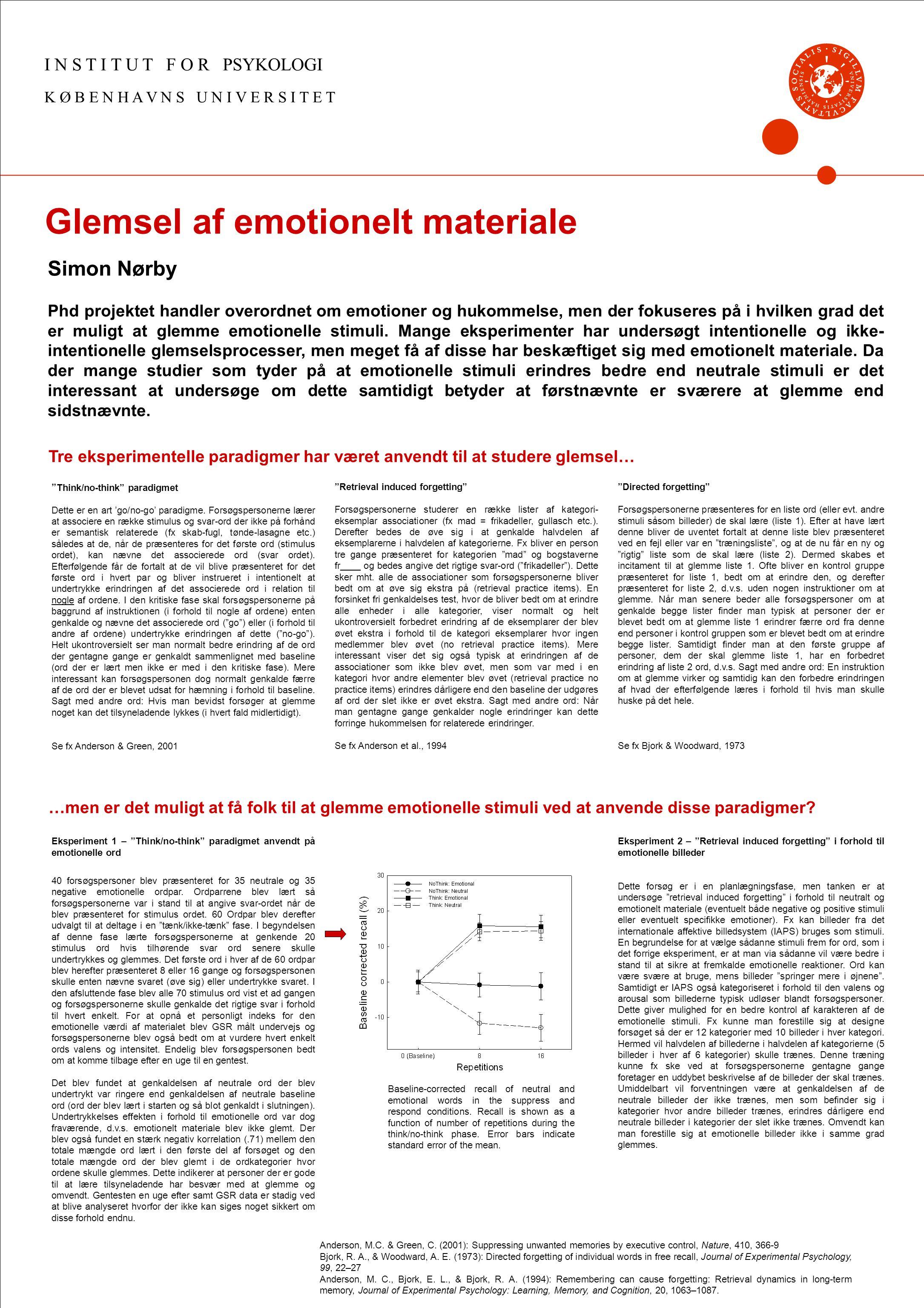 Glemsel af emotionelt materiale