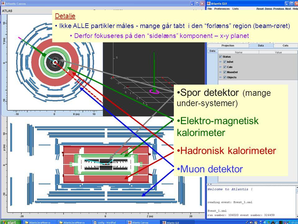 Spor detektor (mange under-systemer) Elektro-magnetisk kalorimeter
